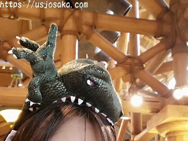 USJのカチUSJのカチューシャでキャラクターとウキウキ気分ューシャのジュラシックパークの恐竜