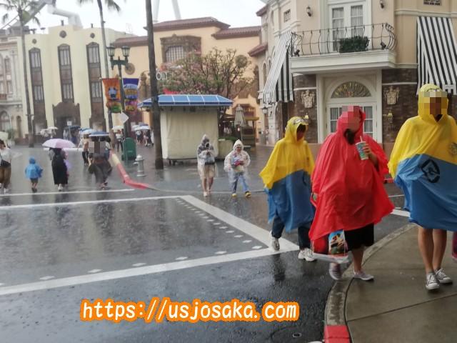 USJが雨のときアトラクションでの雨具の使い分け