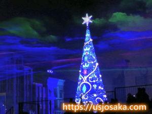 ユニバのクリスマスツリーのライトアップのオーロラ