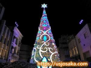 ユニバのクリスマスツリーのライトアップのマーブル色