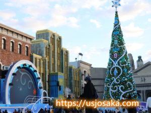 USJクリスタルの約束の無料エリア15時30頃クリスマスツリー